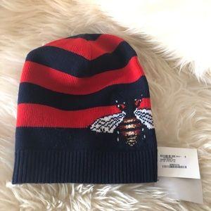 $700 Gucci bee stripe wool beanie size s